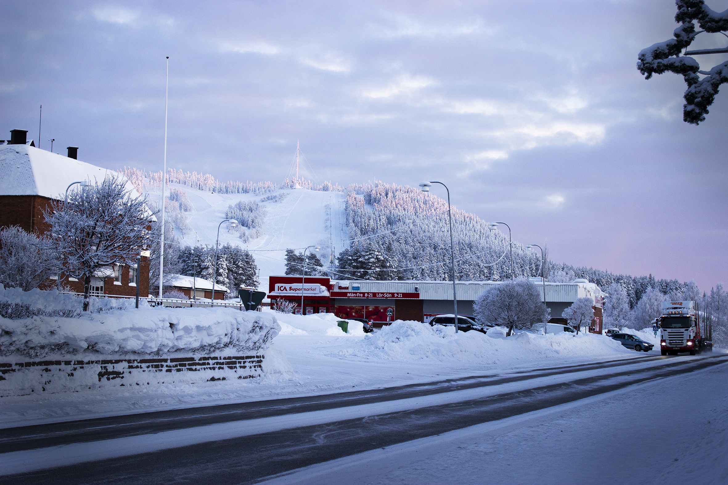 Malå samhälle vinter